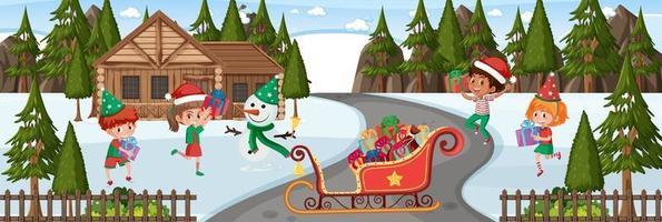 scena invernale con molti bambini in tema natalizio vettore