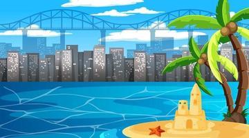 paesaggio spiaggia tropicale alla scena diurna con sfondo paesaggio urbano vettore