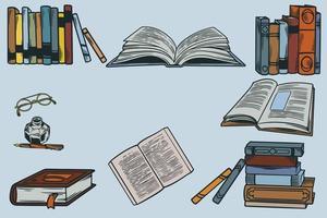 impostare la raccolta di icone disegnate a mano di materiale scolastico. pila di libri con il vecchio strumento di scrittura retrò e bicchieri. illustrazione vettoriale sul tema della biblioteca, libri, lettura schizzo vintage