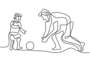un disegno di una linea continua giovane papà che gioca a calcio con suo figlio nel parco del campo pubblico. concetto di genitorialità famiglia felice isolato su sfondo bianco. vettore
