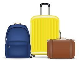 set di una valigia bagaglio borsa e zaino vettore