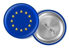 spilla rotonda con bandiera europea davanti e dietro vettore