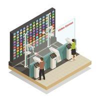 illustrazione di vettore della composizione isometrica di tecnologie robotiche dello shopping