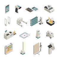 le icone isometriche di tecnologie di acquisto hanno messo l'illustrazione di vettore