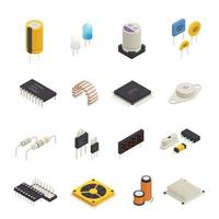 illustrazione di vettore dell'insieme isometrico dei componenti elettronici dei semiconduttori