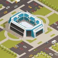 illustrazione isometrica di vettore della composizione nell'arena sportiva dello stadio