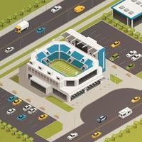 illustrazione isometrica di vettore della composizione nella zona dello stadio sportivo