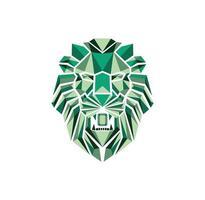 design logo testa di leone smeraldo vettore