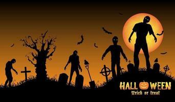 zombie di Halloween in un cimitero vettore