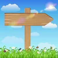 cartello in legno con sfondo erba e cielo vettore