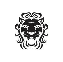 design del logo della testa di leone vettore