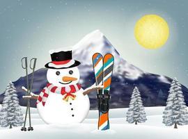 pupazzo di neve e attrezzature da sci in collina invernale vettore