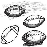set di schizzo di football americano di rugby isolato su priorità bassa bianca vettore