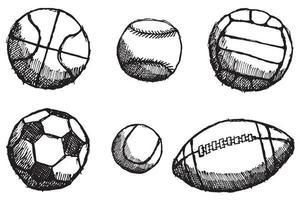 schizzo di palla impostato con ombra isolato su priorità bassa bianca vettore