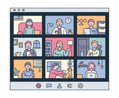 persone che hanno riunioni video a casa propria. illustrazione di vettore minimo di stile di design piatto.