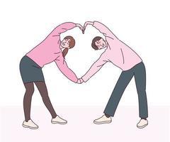 un uomo e una donna stanno facendo un paio di stretching. illustrazioni di disegno vettoriale stile disegnato a mano.