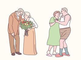romantiche coppie anziane. illustrazioni di disegno vettoriale stile disegnato a mano.