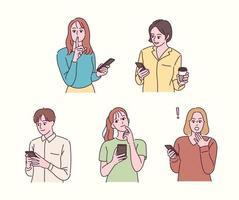 varie reazioni alle persone in possesso di telefoni cellulari. illustrazioni di disegno vettoriale stile disegnato a mano.