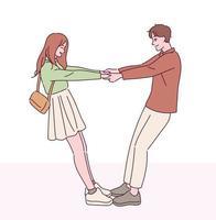 la coppia tiene le mani unite e fa affidamento l'una sull'altra. illustrazioni di disegno vettoriale stile disegnato a mano.