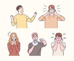 persone di vari gesti. persone che urlano e persone che fanno rumore. illustrazioni di disegno vettoriale stile disegnato a mano.