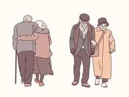 una coppia di anziani che camminano insieme. illustrazioni di disegno vettoriale stile disegnato a mano.