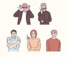 persone di vari gesti. le persone che fingono di essere cool e quelle a cui non piace guardare. illustrazioni di disegno vettoriale stile disegnato a mano.