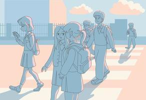 al tramonto gli studenti lasciano la scuola e tornano a casa. illustrazioni di disegno vettoriale stile disegnato a mano.