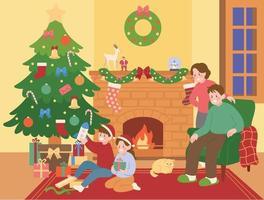 le famiglie natalizie sono sedute davanti al caminetto ei bambini disfano i regali. illustrazioni di disegno vettoriale stile disegnato a mano.