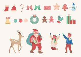 set di ornamenti natalizi con Babbo Natale e renne e bambini. illustrazioni di disegno vettoriale stile disegnato a mano.