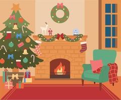 sfondo casa con albero di natale e camino. illustrazioni di disegno vettoriale stile disegnato a mano.