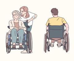 una nonna su una sedia a rotelle e una nipote che l'aiutano. la vista posteriore di un uomo su una sedia a rotelle. illustrazioni di disegno vettoriale stile disegnato a mano.