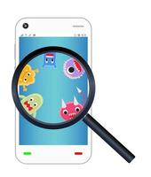 ingrandisci il virus trovato sul vetro sullo smartphone vettore