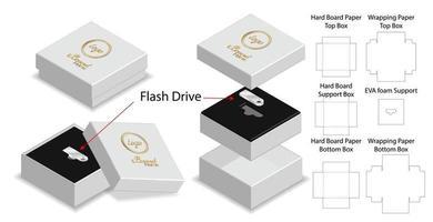 scatola rigida per mockup fustellato di imballaggio per unità flash vettore