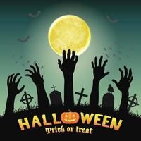 mani di zombie sagoma di Halloween nel cimitero di notte vettore