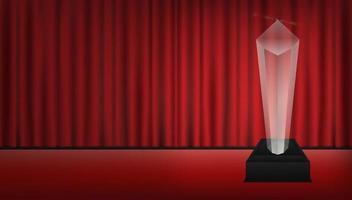 vero trofeo acrilico trasparente 3d con sfondo rosso sipario vettore
