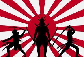 silhouette samurai sul sole nascente bandiera del giappone vettore