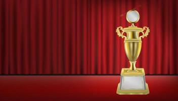trofeo d'oro con sfondo rosso sipario vettore