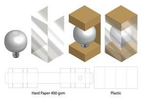 scatola con finestra in plastica fustellata modello mock up vettore