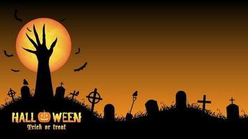 mano del mostro di Halloween che sale dal cimitero notturno vettore