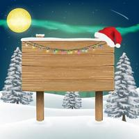 cappello di Babbo Natale sul segno del bordo di legno vettore