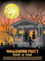 festa in costume di halloween per bambini davanti a casa per poster dolcetto o scherzetto vettore