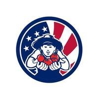 icona di stile retrò illustrazione di un coltivatore di pomodori coltivati biologici americani con Stati Uniti d'America bandiera stellata o stelle e strisce all'interno del cerchio sfondo isolato. vettore