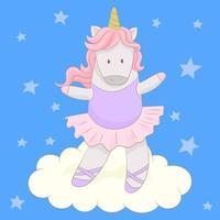 carino ballerina unicorno che balla vettore