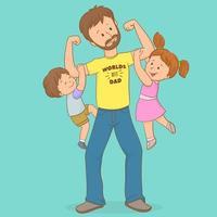 padre che trasporta figlio e figlia, festa del papà vettore