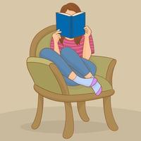 giovane donna che legge un libro sulla sedia vettore