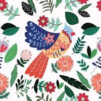 colorato uccello estivo nel giardino fiorito vettore
