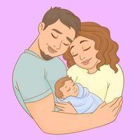 una giovane famiglia con il figlio neonato in braccio vettore