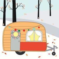 camper roulotte nella foresta di primavera estate vettore