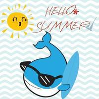 balena blu ciao estate cartone animato vettore