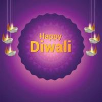 felice diwali celebrazione biglietto di auguri con illustrazione e sfondo creativi vettore